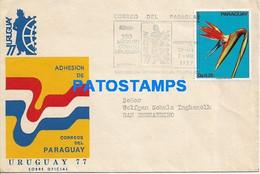 165758 PARAGUAY MONTEVIDEO COVER 150 AÑOS DEL CORREO CANCEL YEAR 1977 CIRCULATED TO PARAGUAY NO POSTAL POSTCARD - Uruguay