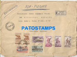 165762 ITALY MACERATA COVER CANCEL 1960 REGISTERED MULTI STAMPS CIRCULATED TO ARGENTINA NO POSTAL POSTCARD - Unclassified