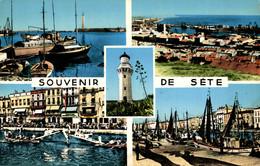 N°13350 Z -cpsm Souvenir De Sète -multivues -phare- - Gruss Aus.../ Gruesse Aus...