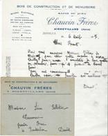 1937 / Facture + Enveloppe CHAUVIN Frères / Bois, Scierie / Visite Du Moulin à écorce / 39 Mignovillard Jura - 1900 – 1949