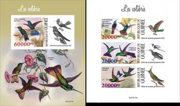 Guinea 2021, Animals, Hummingbirds, 3val In BF +BF IMPERFORATED - Sperlingsvögel & Singvögel