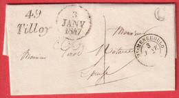 CURSIVE 49 TILLOY MARNE 1847 TAXE LOCALE 1 STE MENEHOULD BOITE RURALE C HERPONT CURSIVE EN ARRIVE GIVRY EN ARGONNE - 1801-1848: Precursors XIX