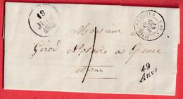 CURSIVE 49 AUVE MARNE 1851 TAXE LOCALE 1 STE MENEHOULD CURSIVE EN ARRIVE GIVRY EN ARGONNE - 1801-1848: Precursors XIX