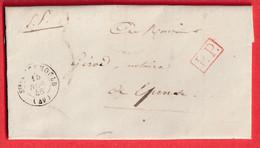 CAD TYPE 15 STE MENEHOULD MARNE PP TAXE 2 AU DOS DOUBLE PORT RURAL CURSIVE 49 GIVRY EN ARGONNE EN ARRIVE - 1801-1848: Precursors XIX