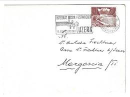 1951 Small Letter From Luzern 2 To Mergoscia. INTERNAT. MUSIK FESTWOCHEN LUZERN - Covers & Documents