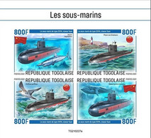 Togo 2021, Submarines, Bird, Shark, Whale, Lighthouse, 4val In BF IMPERFORATED - Marine Web-footed Birds