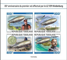 Togo 2021, Zeppelin, Bird, 4val In BF IMPERFORATED - Marine Web-footed Birds