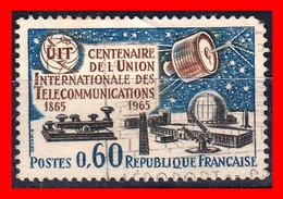 FRANCIA – TIMBRES. AÑO 1965 -  100 ANIVERSARIO DE LA UNIÓN INTERNACIONAL DE TELECOMUNICACIONES - Usati