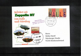 Germany / Deutschland 2006 Zeppelin NT Flight From Halle To Nuernberg Interesting Postcard - Zeppelins