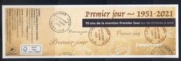 """2021 / Hors Abonnement """" PREMIER JOUR 1951 - 2021 """" COUVERTURE Du Carnet MARIANNE GANDON+L' ENGAGEE - NEUF - Blocchi & Foglietti"""