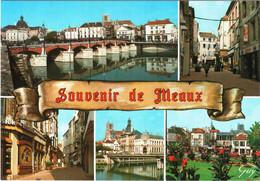 CPM 77 (Seine-et-Marne) Meaux - Souvenir Multivues TBE Pont Du Marché, Rues Piétonnes, Crédit Lyonnais, Hôtel-de-Ville - Gruss Aus.../ Gruesse Aus...