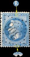 France - Yv.29A 20c Empire Lauré T.1 Position 050A1 - Obl. GC 306 (Bar-s-Aube) - TB - 1863-1870 Napoléon III Lauré