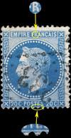 France - Yv.29A 20c Empire Lauré T.1 Position 050A1 - Obl. GC 233 (Auray) - TB - 1863-1870 Napoléon III Lauré