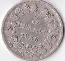 5 FRANCS L. PHILIPPE 1838 W - J. 5 Francs