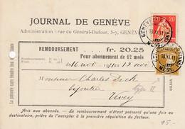 Nos 108 Et 123 II Sur Carte De Remboursement Du Journal De Genève, Oblitérée Le 18.IX.11 - Covers & Documents