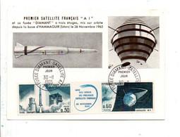 CARTE MAXIMUM 1965 SATELLITE A 1 ET FUSEE DIAMANT - 1960-69