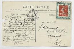 SEMEUSE 10C PORTE TIMBRE VERT BELLE JARDINIERE PARIS 1908 SUR CARTE DEFAUT - 1877-1920: Periodo Semi Moderno