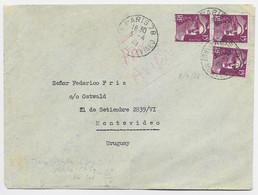 GANDON 15FR VIOLET N°724X3 LETTRE AVION PARIS 78 3.4.1945 POUR URUGUAY  PEU COMMUN - 1945-54 Marianne (Gandon)