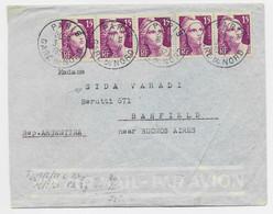 GANDON 15FR GRAVE X5 LETTRE AVION PARS GARE DU NORD 3.6.1952 POUR ARGENTINE AU TARIF USAGE TARDIF - 1945-54 Marianne (Gandon)