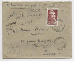 GANDON  50FR SEUL LETTRE REC PROVISOIRE CHARGE 80.000FR GUERANDE 22.10.1945 1FR50 EN TROP - 1945-54 Marianne (Gandon)