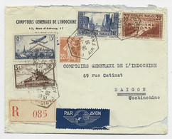N°262+261+260+235+ PA 11 LETTRE REC AVION C. HEX PARIS 96C AIR FRANCE 28.10.36 POUR SAIGON - 1921-1960: Modern Period