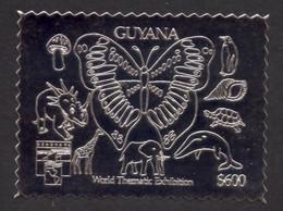 Guyana, 1992, Butterfly, Mushroom, Dino, Turtle, Penguin, Whale, Genova, Silver, MNH Perforated, Michel 3831BA - Guyana (1966-...)