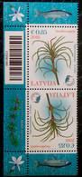 2018 Latvia Lettland Lettonie Aquatic Plant - - Bird - Fish - Kingfisher Stamp  MNH + Border + Pair Tet A Tet - Lettonie