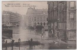 PARIS - CRUE DE LA SEINE - 28 Janvier 1910 - Gare Saint Lazare - Vue De La Rue De Rome - De Overstroming Van 1910