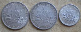 3 Monnaies Anciennes En Argent SEMEUSE Roty: 1 Franc 1916, 1 Franc 1917, 50 Centimes 1916 - H. 1 Franc