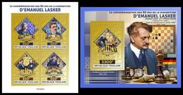 TOGO 2021 - Emanuel Lasker, Chess. Gold Foil. M/S + S/S. Official Issue [TG210234-g] - Togo (1960-...)