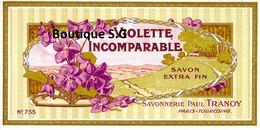 Etiquettes Savon Violette Incomparable Paul Tranoy Paris Tourcoing - Etichette