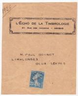 Yvert 140 Préo Surcharge à Plat Affranchissement Postes  25c Bleu Semeuse Camée / Devant De Bande écho Timbrologie - 1893-1947