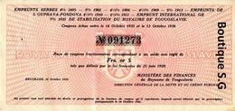 Action Titres Emprunt Serbes Ouprava Fondova Royaume Yougoslavie Or 5 1936 - W - Z