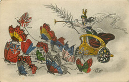 CHAR DE LA VICTOIRE Tiré Par Des Papillons De Russie, Angleterre, Etats-Unis, France, Portugal, Belgique... 1917 E.L.D - Altre Illustrazioni