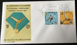 España Spain 1971 IX Campeonato De Europa De Gimnasia Masculina - FDC