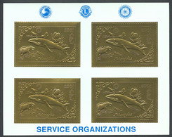Mongolia, 1993, Whale, Dinosaur, Butterflies, Rotary, Lions Club, Gold, MNH Perforated Sheet, Michel 2471A - Mongolia