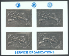Mongolia, 1993, Whale, Dinosaur, Butterflies, Rotary, Lions Club, Silver, MNH Perforated Sheet, Michel 2472A - Mongolia
