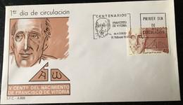 España Spain 1987 V Centenario Del Nacimiento De Francisco De Vitoria. - FDC