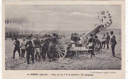 MILITARIA. GUERRE 1914-18. PIECE DE 155 TR EN BATTERIE TIR PLONGEANT. ANNEE 1917 + TEXTE - Guerra 1914-18