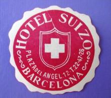 HOTEL RESIDENCIA PENSION HOSTAL MESON SWISS SUIZO BARCELONA SPAIN LUGGAGE LABEL ETIQUETTE AUFKLEBER DECAL STICKER MADRID - Etiquettes D'hotels