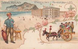 PALERMO-HOTEL MILAN-BELLA CARTOLINA TIPO GRUSS AUS-ANNO 1898-1904 - Palermo