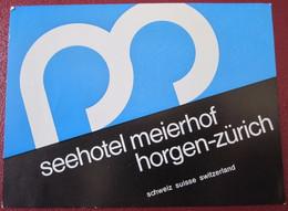 HOTEL MOTEL PENSION GASTHOF MEIER ZURICH SWISS SWITZERLAND SCHWEITZ STICKER DECAL LUGGAGE LABEL ETIQUETTE AUFKLEBER - Etiquettes D'hotels