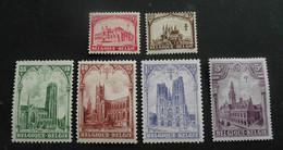 """1928 : Cob 267*-272*  : """"Les Cathédrales""""  (  Charnière D8) Voir Verso - Unused Stamps"""
