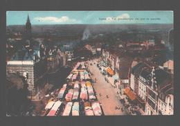 Lens - Vue Panoramique (un Jour De Marché) - Colorisée - Lens