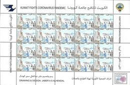 KUWAIT 2021 BLATT 20v - BEKÄMPFUNG DER PANDEMIE COVID 19 CORONA PANDEMIE - SELTENE MNH - Koweït
