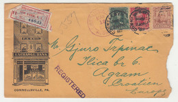 F.A. Kail Exchange Bank Illustrated Letter Cover Registered Posted 1908 Connellsville, PA To Zagreb B210725 - Cartas