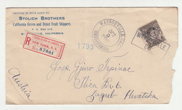Stolich Brothers Letter Cover Registered Posted 1907 Watsonville, CAL To Zagreb B210725 - Cartas