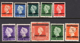 Indonesia 1948-9 Overprints, Glossy Ink (as Far As I Can Determine), Used, SG 532/40 (A) - Indonesien