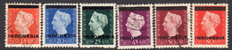 Indonesia 1948-9 Overprints, Dull Ink (as Far As I Can Determine) Set Of 6, Used, SG 541/6 (A) - Indonesien