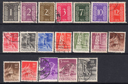 Indonesia 1949-50 Definitives Part Set Of 19, Perf. 12½, Used, SG 548A/71A (A) - Indonesien